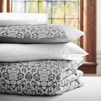 Damask Essential Value Bedding Set, Light Gray