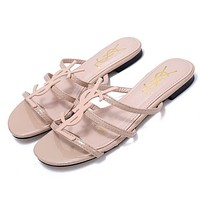 YSL new classic patent leather word with metal buckle open toe fashion flat female slippers shoes pink