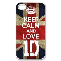 Apple iPhone 4 4G 4S KEEP CALM AND LOVE 1D ONE DIRECTION WHITE Sides Slim HARD Case Skin Cover Protector Accessory Vintage Retro Unique AT&T Sprint Verizon Virgin Mobile