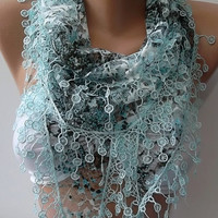 Mothers Day gift  Elegant and feminine scarf  Lace scarf blue scarf
