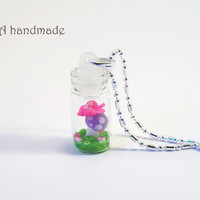 Tiny fairy kei bottle necklace