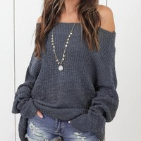 Gray Off Shoulder Long Sleeve Knit Sweater