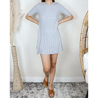 Cotton Candy Ribbed Babydoll Mock Neck Sweater Dress in Grey