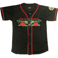 Guns N Roses Men's  Roses And Pistols Bball Jersey Authentic Baseball  Jersey Black