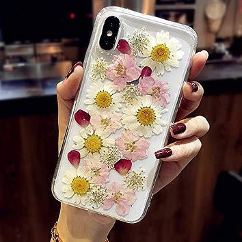 AHTONG Pressed Flower iPhone XR Case Cute for Girls Women [Real Flowers Pressed] [Slim Fit] [Shockproof] Soft Clear Silicone Phone Cover with Design for iPhone XR 6.1'',Sunflower Pink