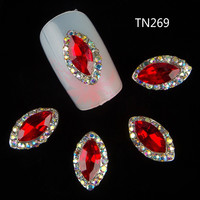 10pcs 3d nail art supplies rhinestone alloy nails decoration jewelry red gem design crystals/acrylic sticker for  nails TN269