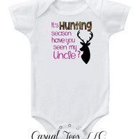 It's Deer Hunting Season Have You Seen My Uncle Funny Baby Bodysuit   for the Baby