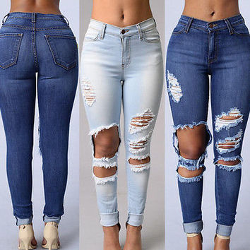 2017 Fashion Women Denim Skinny Ripped Pants High Waist Stretch Jeans Slim Pencil Trousers