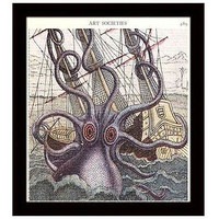 Nautical Dictionary Art Print 8 x 10 Giant Octopus Sinks Ship