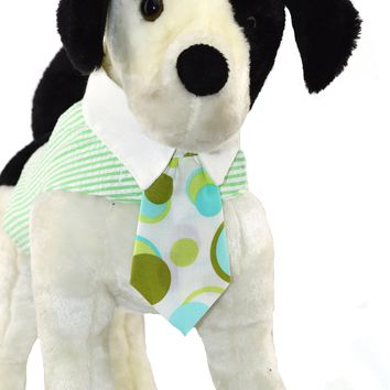 Green Seersucker Dog Vest Harness with White Collar and Print Tie - CLOSEOUT!
