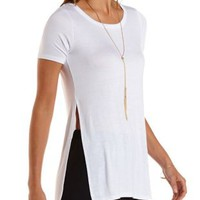 White Side Slit Tunic Tee by Charlotte Russe