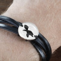 Turtle Woven and Braided Leather Bracelet by Namecoins
