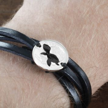 Turtle Woven and Braided Leather Bracelet