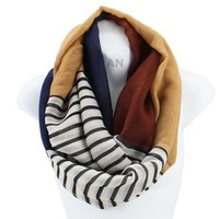 AN - Lightweight Nautical Striped Colorblock Infinity Circle Scarf Snood Loop (Navy)