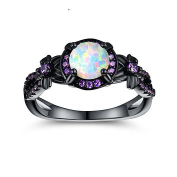 OPALTOP Black Gun Plated White Fire Opal Rings Created Amethyst Promise Engagement Rings Band for Women Girls (Size 5-10) Black Ring 10