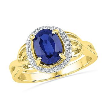10k Yellow Gold Oval Created Blue Sapphire Solitaire Diamond Ring .02 Cttw