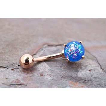 Blue Opal Rose Gold Belly Button Ring