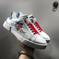 Dolce & Gabbana D & G Portofino Sneakers In Nappa Calfskin With Patches Cs15875268i721 - Best Online Sale