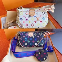 Inseva Louis Vuitton LV New color printing ladies three-piece diagonal bag cosmetic bag