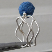 Silverring with 1  roughnatural azurit ball by Bimonia on Etsy