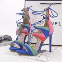 Charming Rainbow Cross Strap Lace Open Toe High Heels