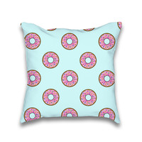 Cartoon Donut Blue Sky Pattern Print Throw Pillow