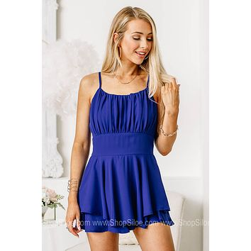 Keep Them Guessing Romper | Royal Blue