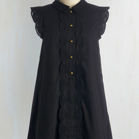 Mid-length Cap Sleeves Shift Letter Than Ever Dress in Black
