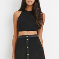 Button-Front Faux Suede Skirt