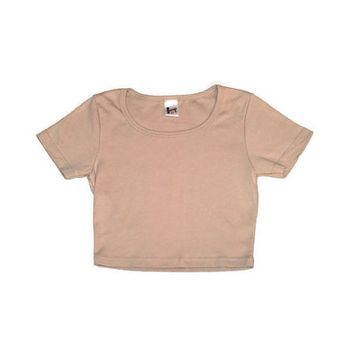 neutral crop top early 90s minimalist cropped nude cotton t-shirt small