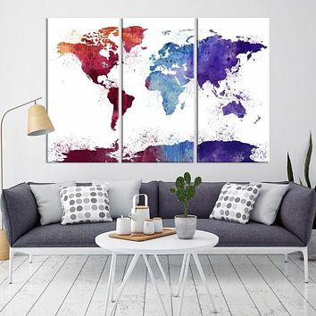 97843 Large Wall Art World Map Watercolor Canvas Print World Map Poster Print