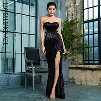 Love&Lemonade  Black Bra Open Back Back Pleated Sequins Slim Dress Party Long Dress LM81335BLACK Autumn/Winter