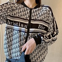 Dior new loose long-sleeved jacket women's feet trousers casual fashion sports two-piece suit