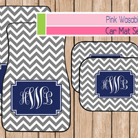 Car Mats, Monogrammed Chevron Car Accessories, Personalized New Driver Gift, Sweet Sixteen, Customized Car Mats