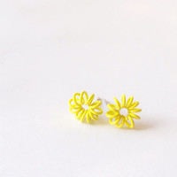 Little Spring Earrings  - Yellow earrings - Fashion earrings - Spring coil - Turquoise earrings - Post earrings - Stud earrings - Kawaii