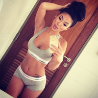 SIMPLE - Sexy Women Summer Sport Top And Short Shorts Two Piece Set  a10003