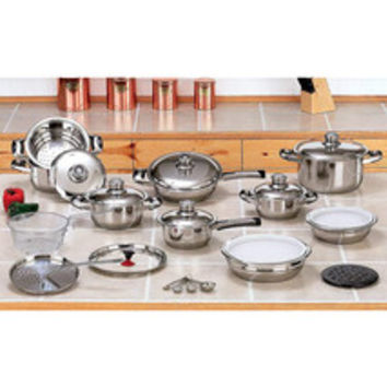 28 Piece High-Quality Heavy-Gauge Stainless Steel Cookware Set Can Be Waterless