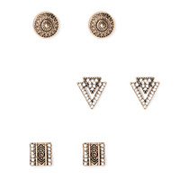 FOREVER 21 Etched Geo Stud Set Antic Gold/Clear One