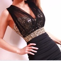 Fanewant — Sexy Slim Clubwear Bling Sequins voile backless Mini dress Bodycon Party elegant
