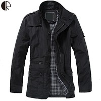 Men's Winter Turn-Down Collar Trench Coat with Plain Interior