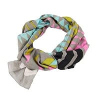 Handmade Chevron Stripe Scarf - Gray - WorldFinds (S)