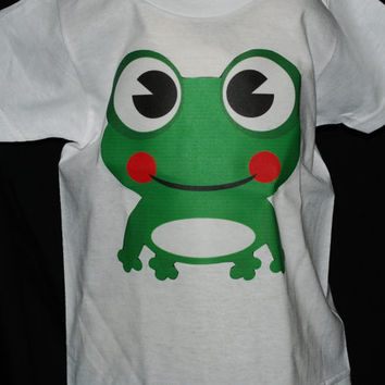 "Baby Onsie, Toddler Tee, Free Shipping, ""Froggie"", White, Baby, Toddler, Graphic Design, Personalized, Clothing, Custom, cute, Kids"
