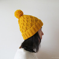 Hand Knitted Hat in Yellow - Beanie with Pom Pom - Seamless - Wool Blend - Ready to Ship