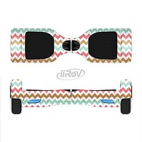 The Vintage Brown-Teal-Pink Chevron Pattern Full-Body Skin Set for the Smart Drifting SuperCharged iiRov HoverBoard