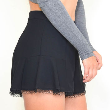 Black Flare Lace-Trimmed Shorts