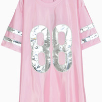 Metallic 88 Patched PU T-shirt in Pink - Choies.com