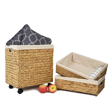 Woven Wicker Storage Baskets with Wheels | Decorative Baskets for Shelves (Set 3)