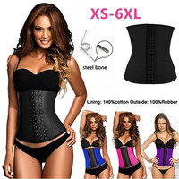 LOVER-BEAUTY  Steel Boned Women Natural Rubber Waist Tummy Trainer Girdle Belt Waist Training Cincher Underbust Healthy Latex Sexy Sport Corset Body Shaper Plus Size = 1929536324