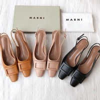 MARNI Newest Popular Women Leather Sandals Shoes High Heels