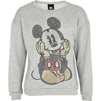 GIRLS GREY RHINESTONE MICKEY MOUSE SWEATSHIRT